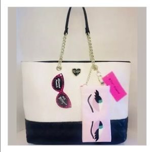 🌺Betsey Johnson White/Black Perforated Tote Bag